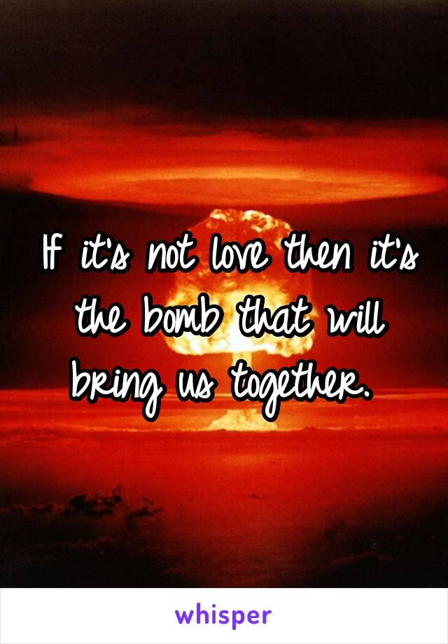 If it's not love then it's the bomb that will bring us together.