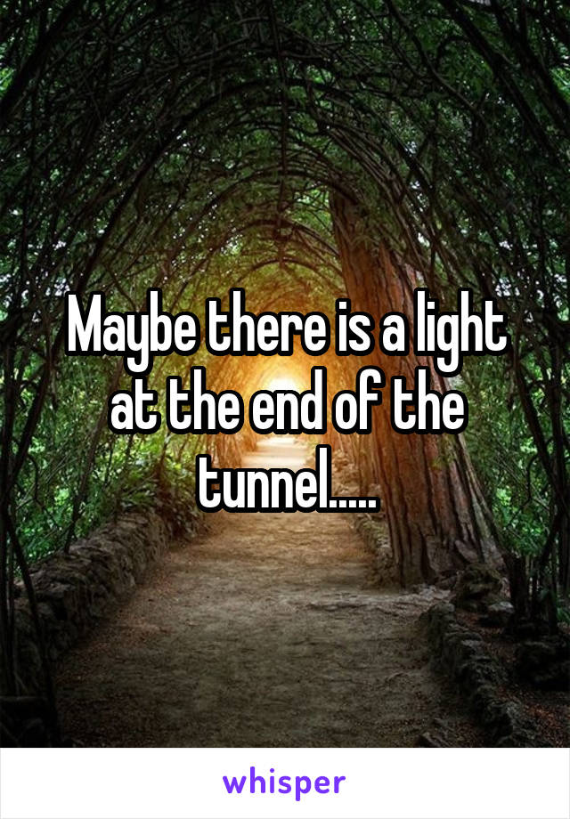 Maybe there is a light at the end of the tunnel.....