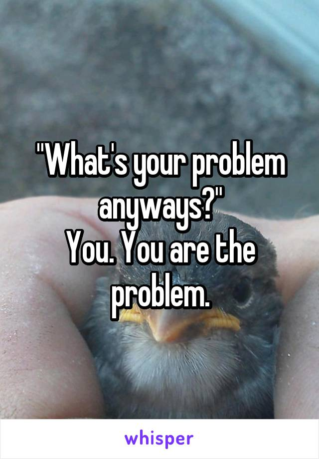 """""""What's your problem anyways?"""" You. You are the problem."""