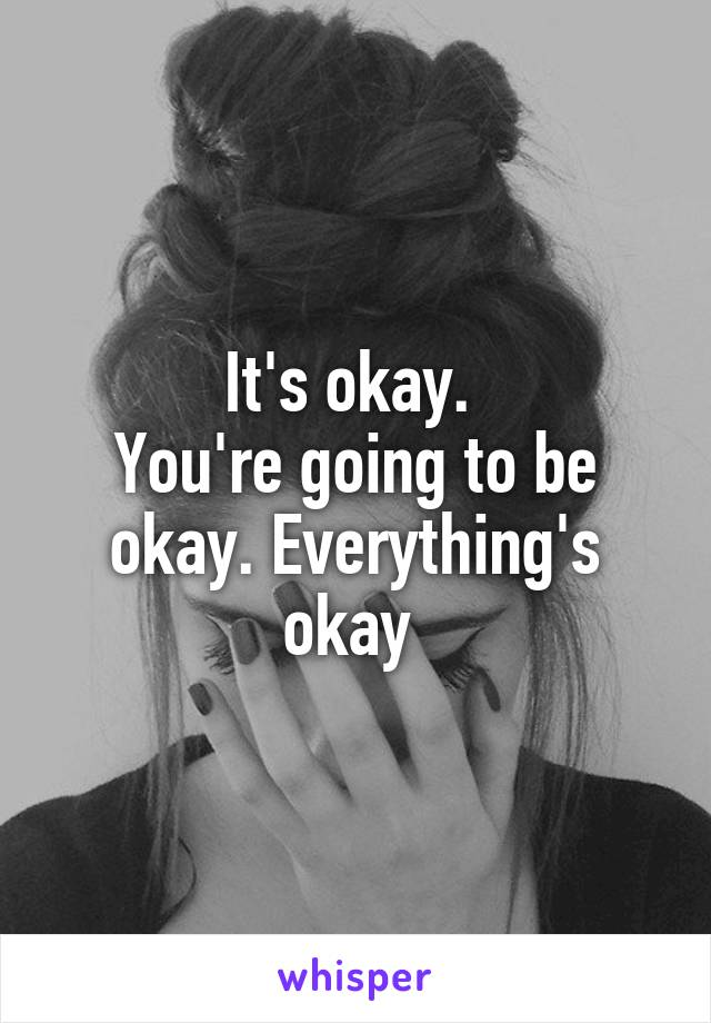 It's okay.  You're going to be okay. Everything's okay