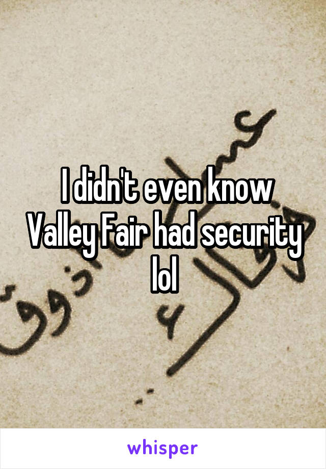 I didn't even know Valley Fair had security lol