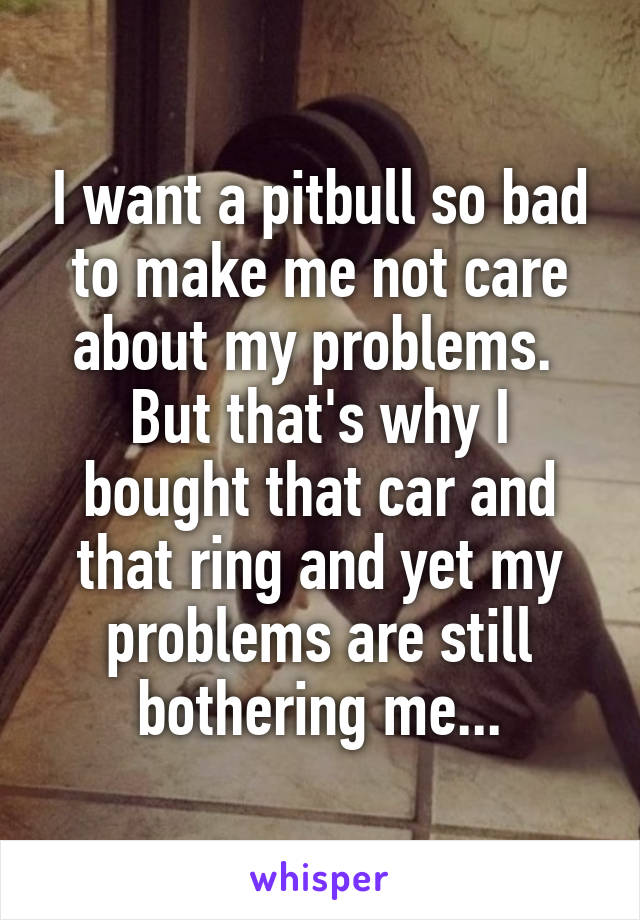 I want a pitbull so bad to make me not care about my problems.  But that's why I bought that car and that ring and yet my problems are still bothering me...