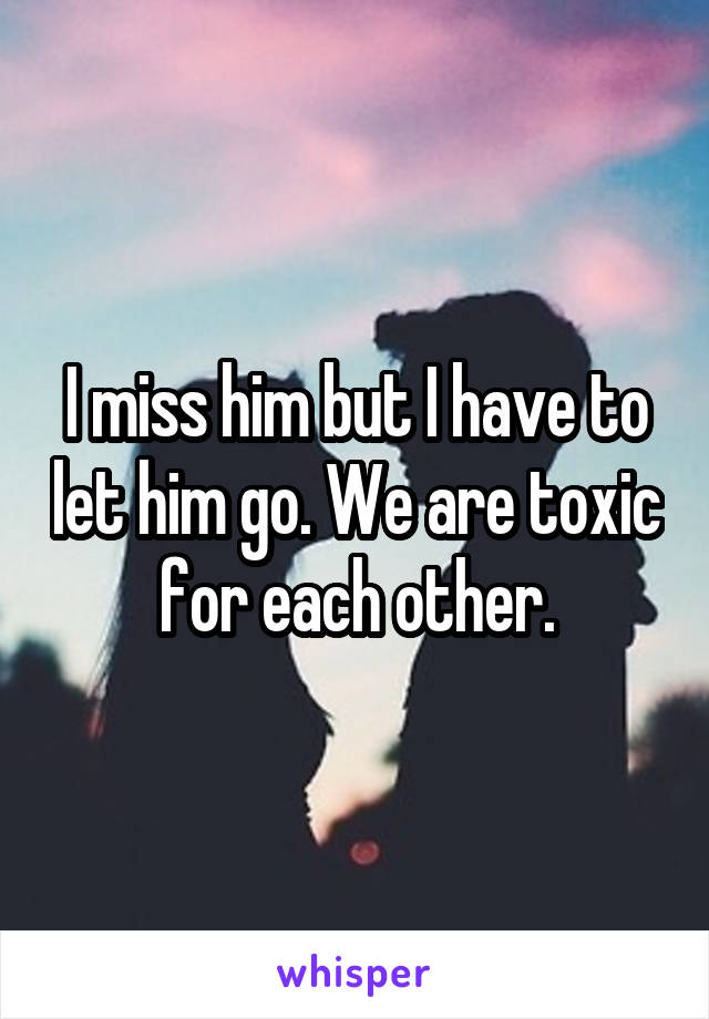 I miss him but I have to let him go. We are toxic for each other.
