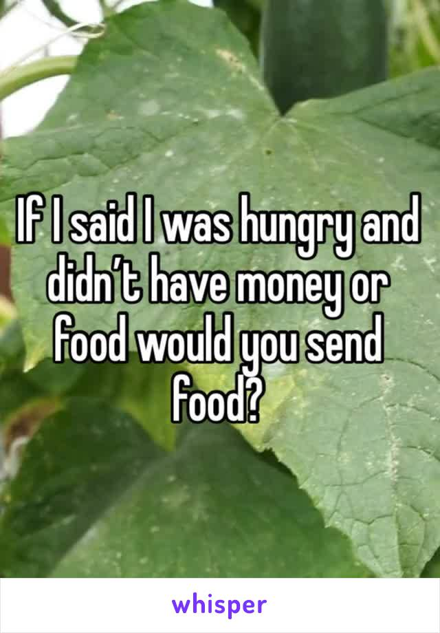 If I said I was hungry and didn't have money or food would you send food?