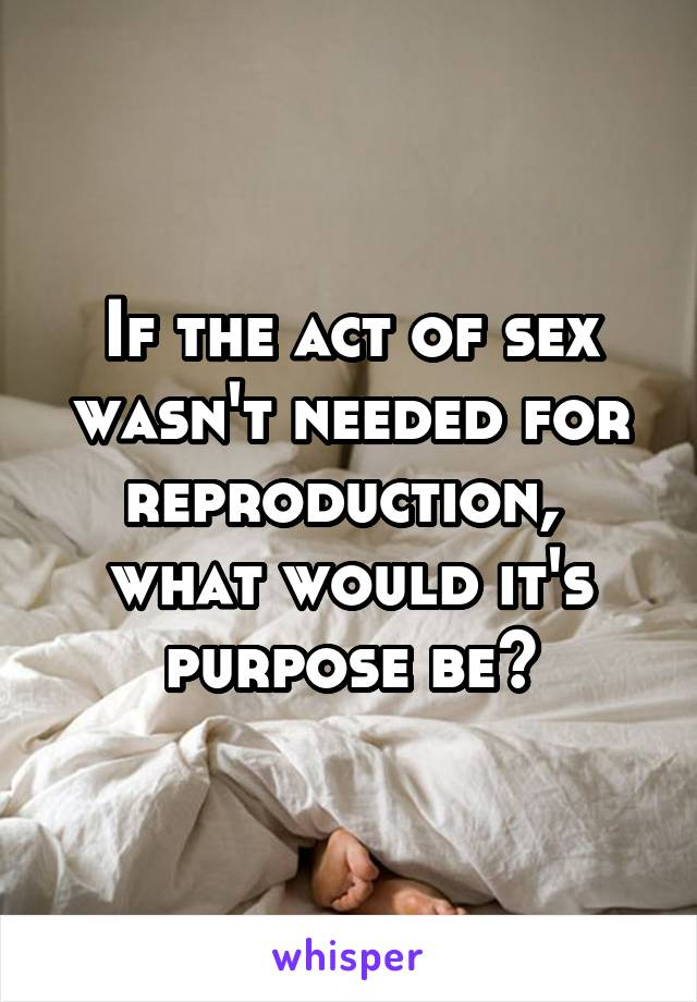 If the act of sex wasn't needed for reproduction,  what would it's purpose be?