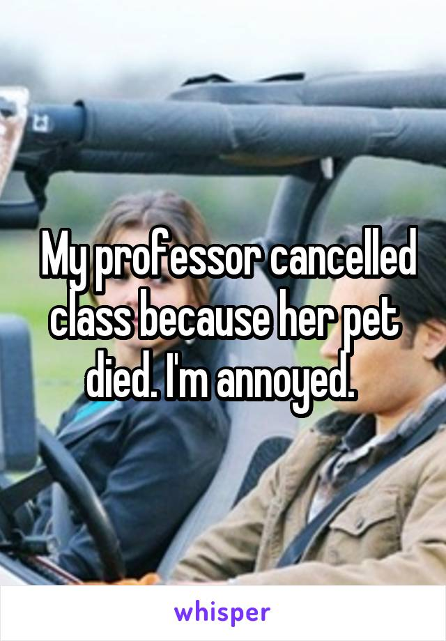 My professor cancelled class because her pet died. I'm annoyed.