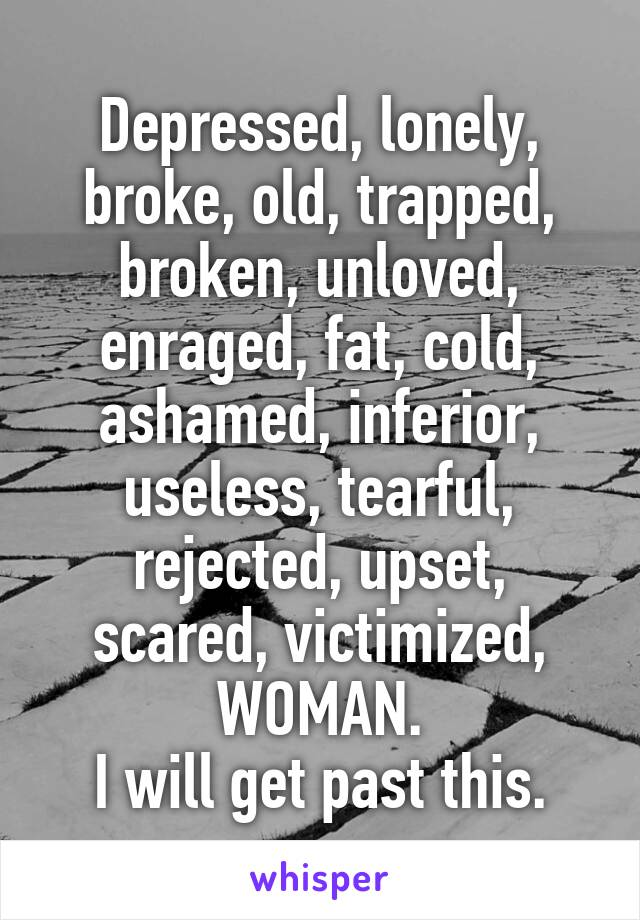 Depressed, lonely, broke, old, trapped, broken, unloved, enraged, fat, cold, ashamed, inferior, useless, tearful, rejected, upset, scared, victimized, WOMAN. I will get past this.