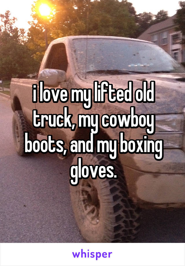 i love my lifted old truck, my cowboy boots, and my boxing gloves.