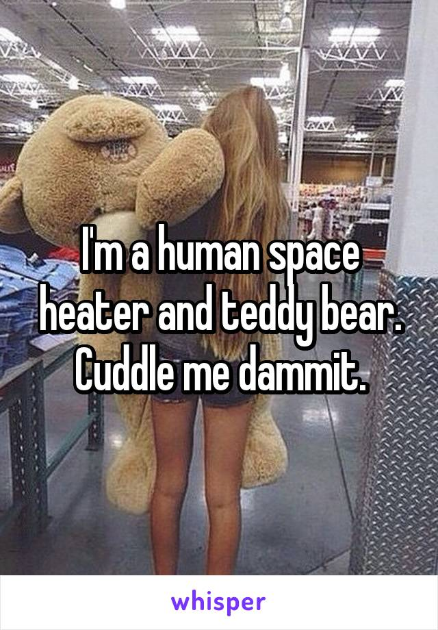 I'm a human space heater and teddy bear. Cuddle me dammit.