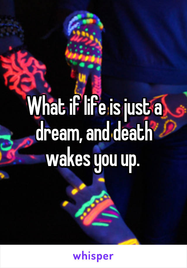 What if life is just a dream, and death wakes you up.