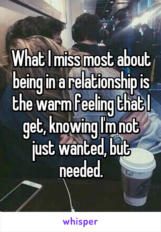 What I miss most about being in a relationship is the warm feeling that I get, knowing I'm not just wanted, but needed.
