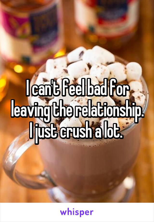 I can't feel bad for leaving the relationship. I just crush a lot.