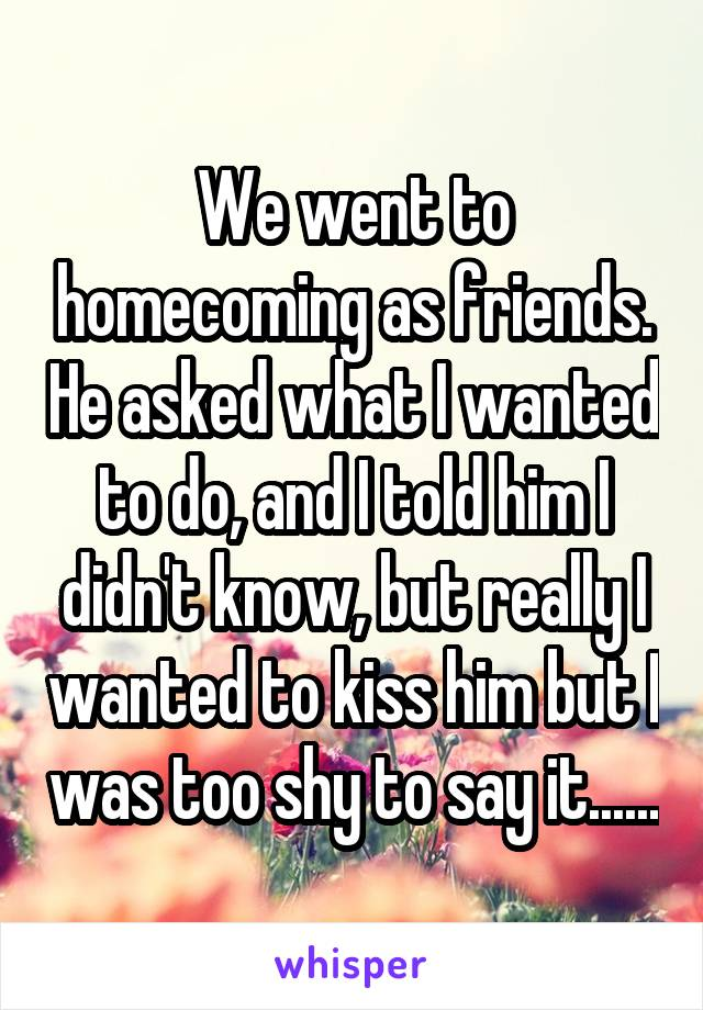 We went to homecoming as friends. He asked what I wanted to do, and I told him I didn't know, but really I wanted to kiss him but I was too shy to say it......