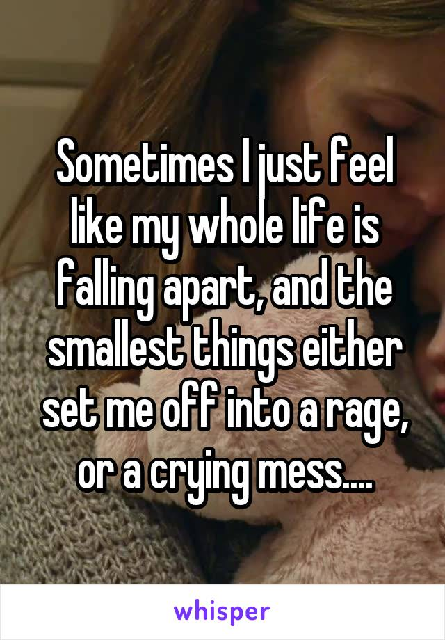 Sometimes I just feel like my whole life is falling apart, and the smallest things either set me off into a rage, or a crying mess....
