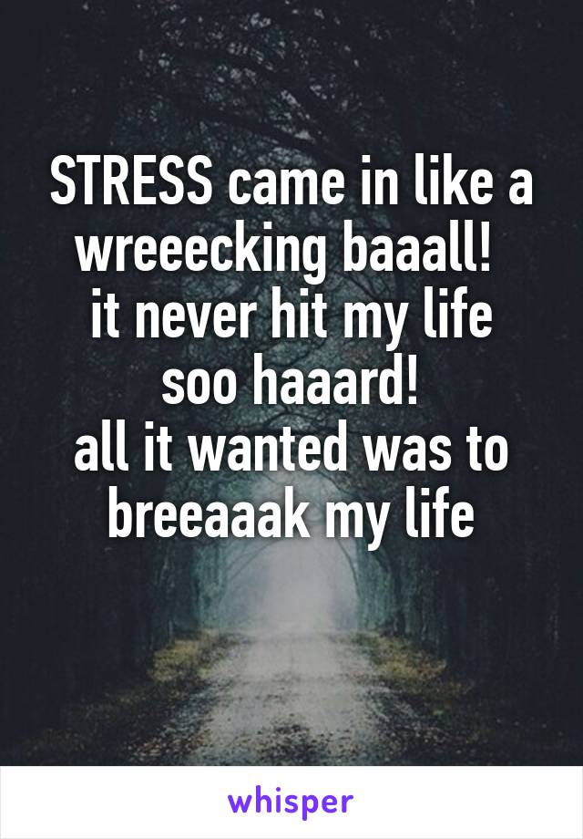 STRESS came in like a wreeecking baaall!  it never hit my life soo haaard! all it wanted was to breeaaak my life