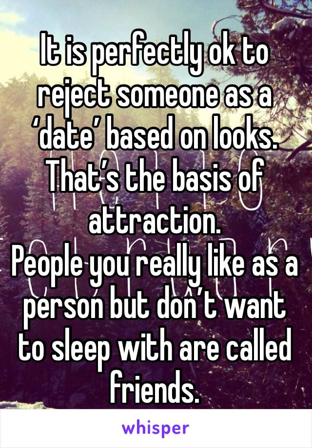 It is perfectly ok to reject someone as a 'date' based on looks. That's the basis of attraction.  People you really like as a person but don't want to sleep with are called friends.