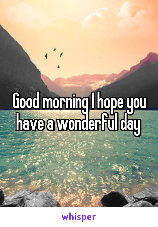Good morning I hope you have a wonderful day