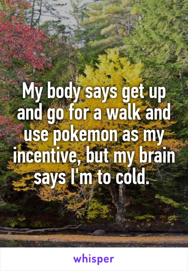My body says get up and go for a walk and use pokemon as my incentive, but my brain says I'm to cold.