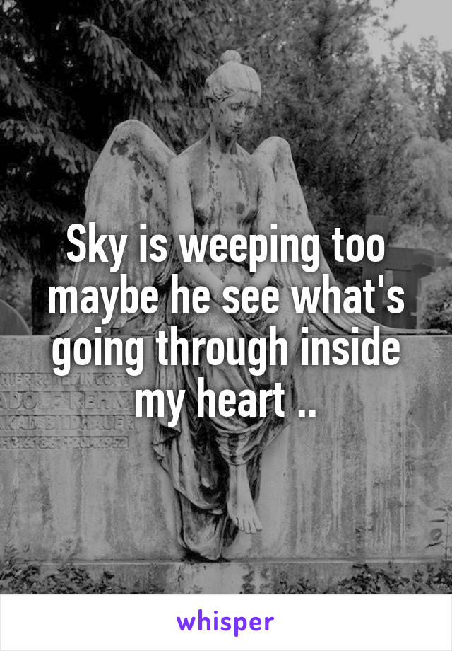 Sky is weeping too maybe he see what's going through inside my heart ..
