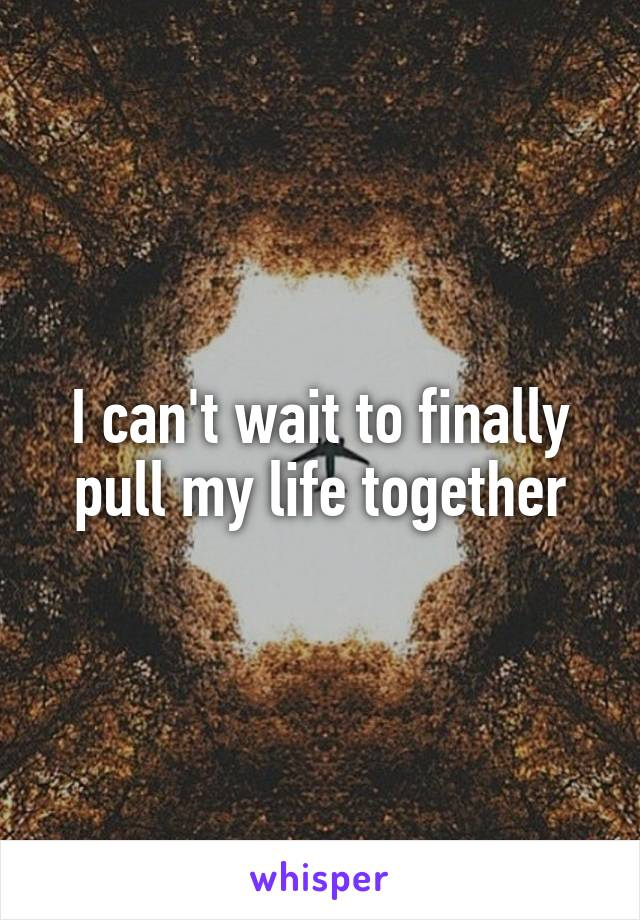I can't wait to finally pull my life together
