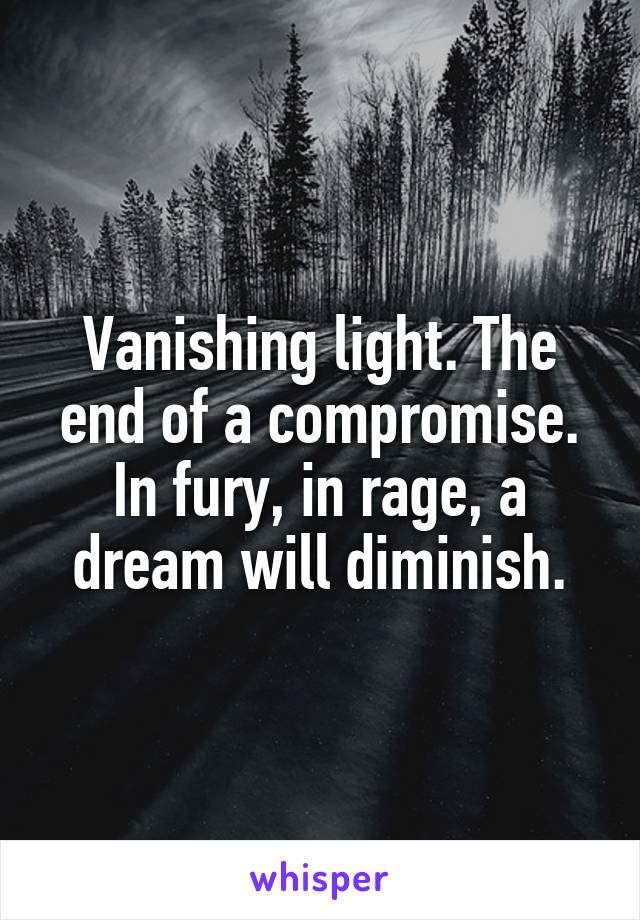 Vanishing light. The end of a compromise. In fury, in rage, a dream will diminish.