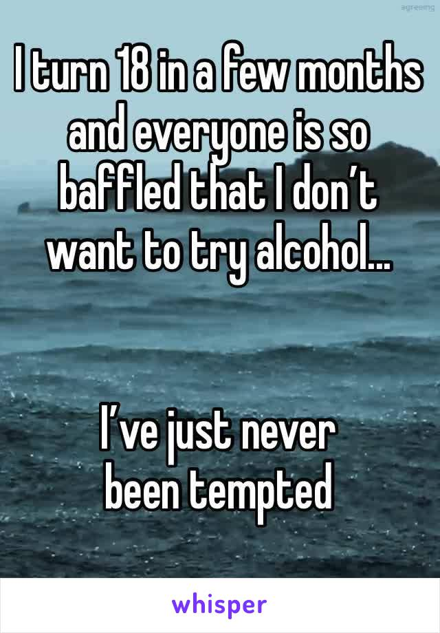 I turn 18 in a few months and everyone is so baffled that I don't want to try alcohol...   I've just never been tempted