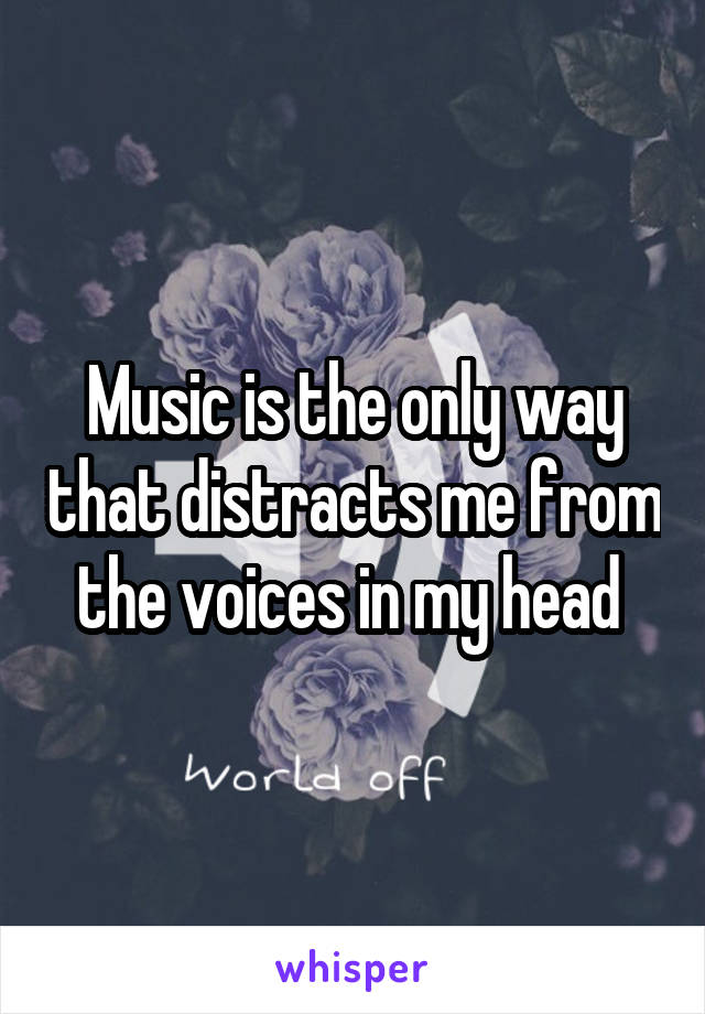 Music is the only way that distracts me from the voices in my head