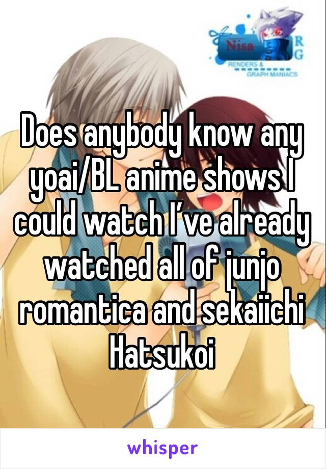 Does anybody know any yoai/BL anime shows I could watch I've already watched all of junjo romantica and sekaiichi Hatsukoi