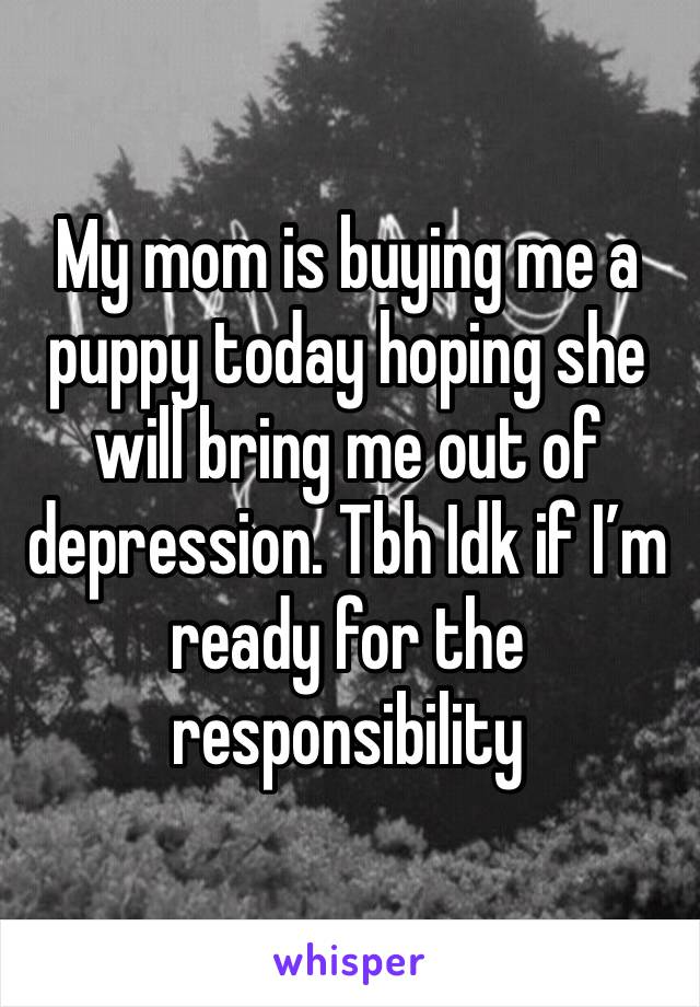 My mom is buying me a puppy today hoping she will bring me out of depression. Tbh Idk if I'm ready for the responsibility