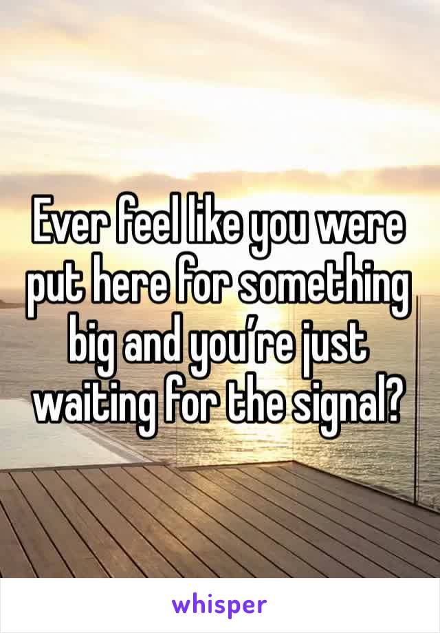 Ever feel like you were put here for something big and you're just waiting for the signal?