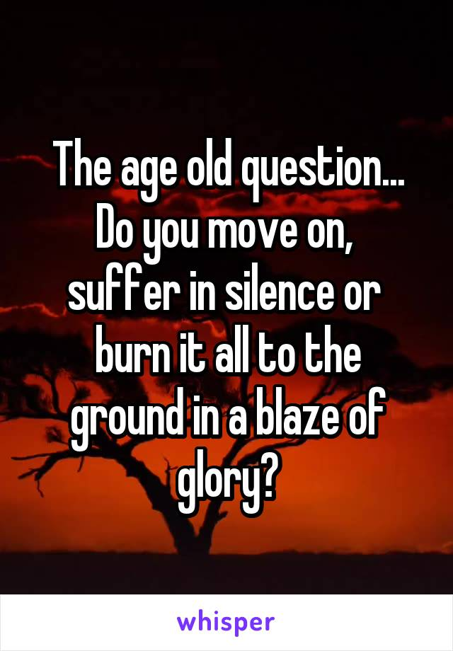 The age old question... Do you move on,  suffer in silence or  burn it all to the ground in a blaze of glory?