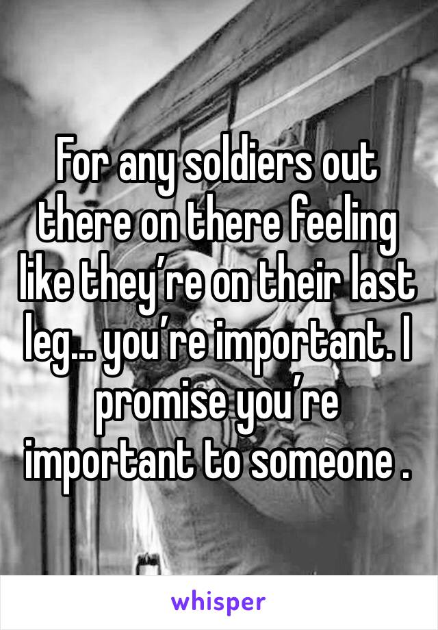 For any soldiers out there on there feeling like they're on their last leg... you're important. I promise you're important to someone .