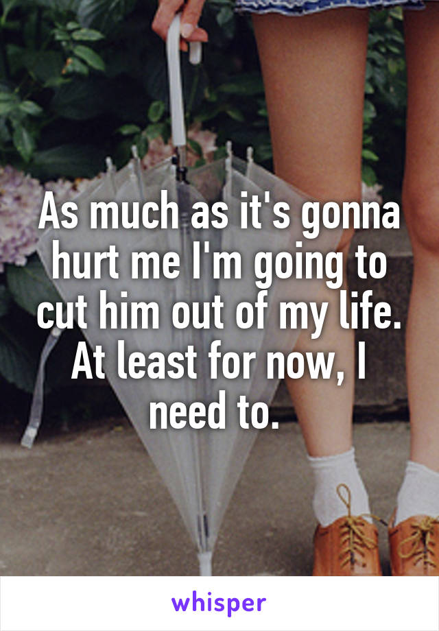 As much as it's gonna hurt me I'm going to cut him out of my life. At least for now, I need to.