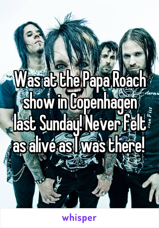 Was at the Papa Roach show in Copenhagen last Sunday! Never felt as alive as I was there!