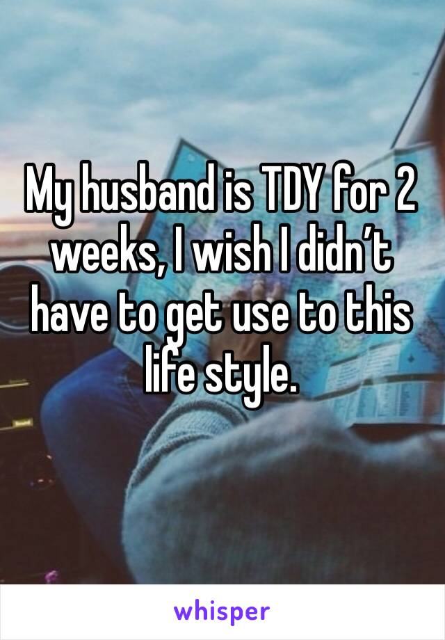 My husband is TDY for 2 weeks, I wish I didn't have to get use to this life style.