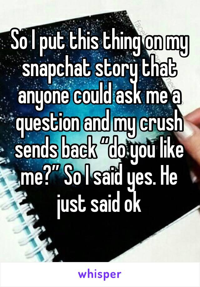 """So I put this thing on my snapchat story that anyone could ask me a question and my crush sends back """"do you like me?"""" So I said yes. He just said ok"""