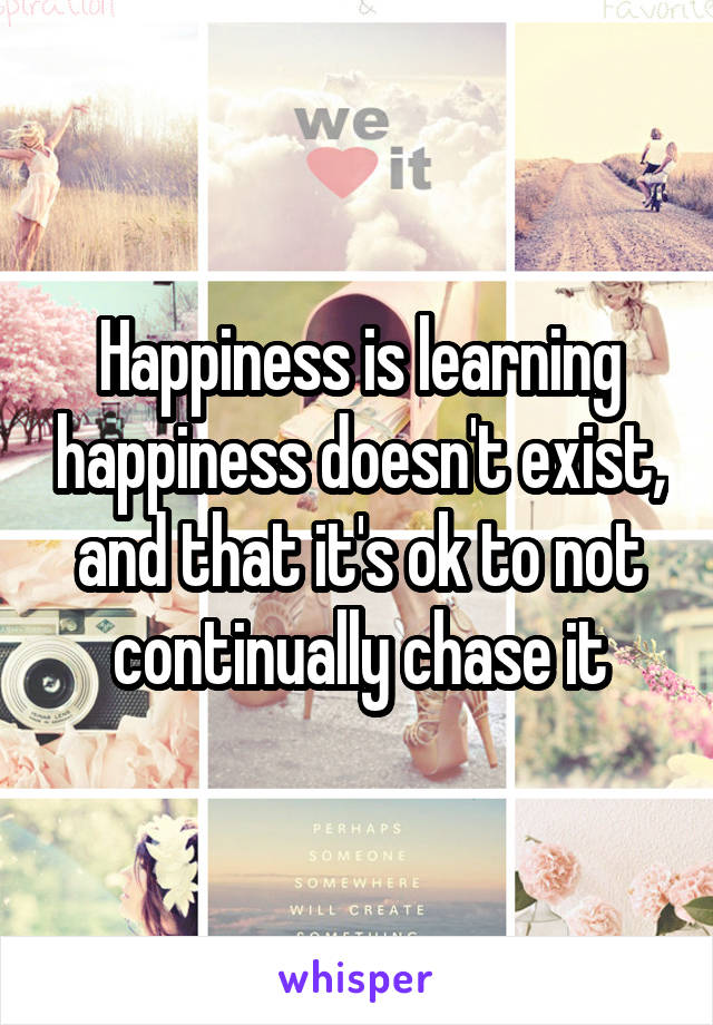 Happiness is learning happiness doesn't exist, and that it's ok to not continually chase it