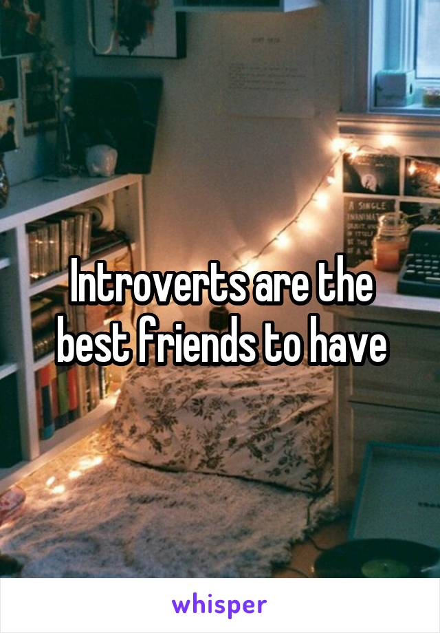 Introverts are the best friends to have