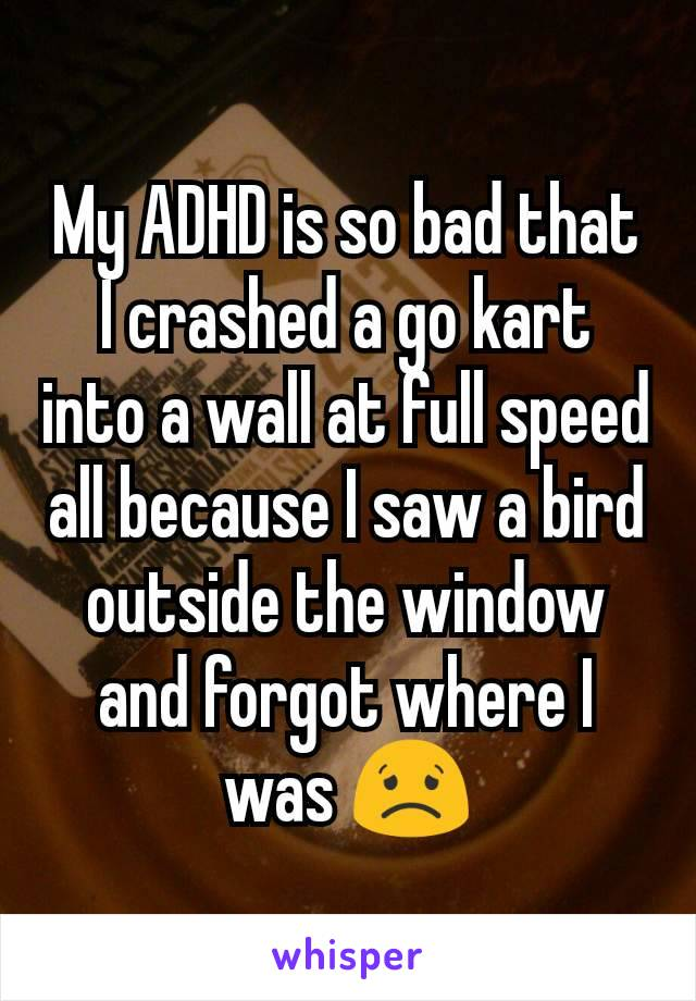 My ADHD is so bad that I crashed a go kart into a wall at full speed all because I saw a bird outside the window and forgot where I was 😟