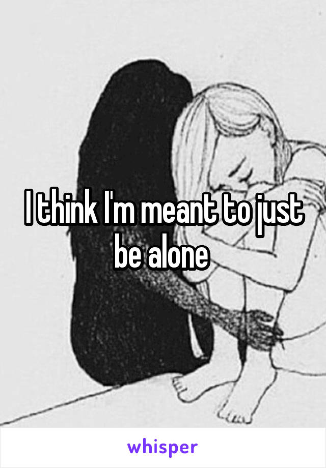 I think I'm meant to just be alone