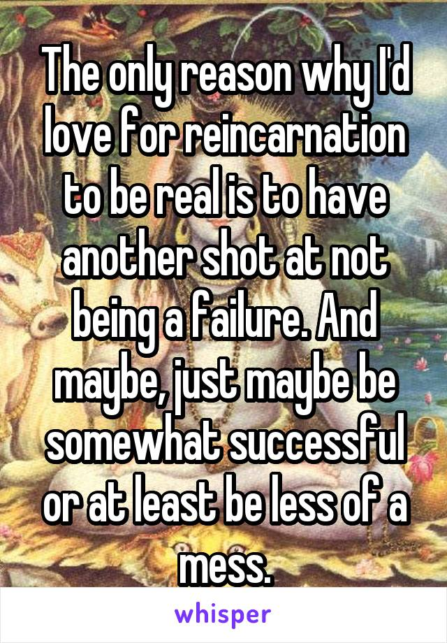 The only reason why I'd love for reincarnation to be real is to have another shot at not being a failure. And maybe, just maybe be somewhat successful or at least be less of a mess.