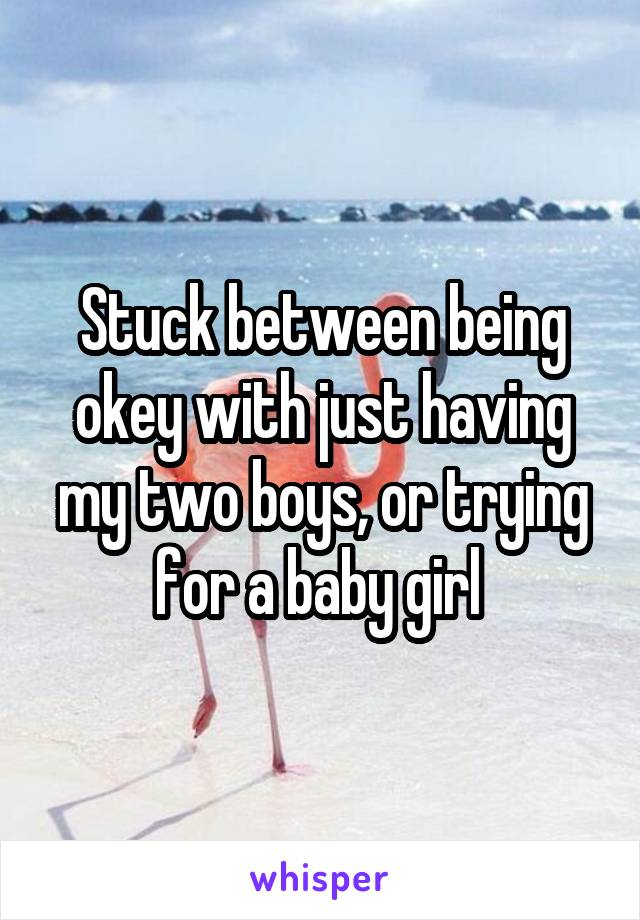 Stuck between being okey with just having my two boys, or trying for a baby girl