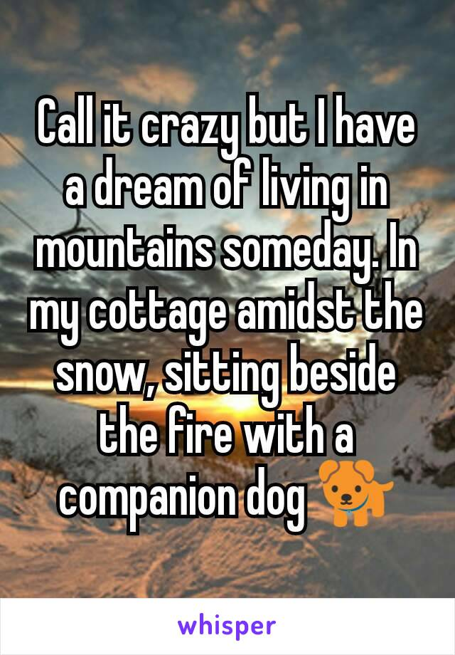 Call it crazy but I have a dream of living in mountains someday. In my cottage amidst the snow, sitting beside the fire with a companion dog 🐕