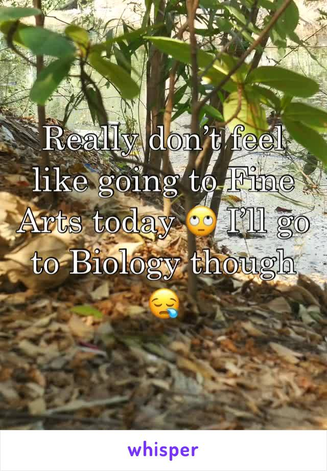 Really don't feel like going to Fine Arts today 🙄 I'll go to Biology though 😪
