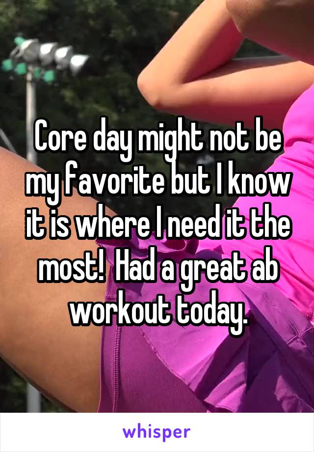 Core day might not be my favorite but I know it is where I need it the most!  Had a great ab workout today.