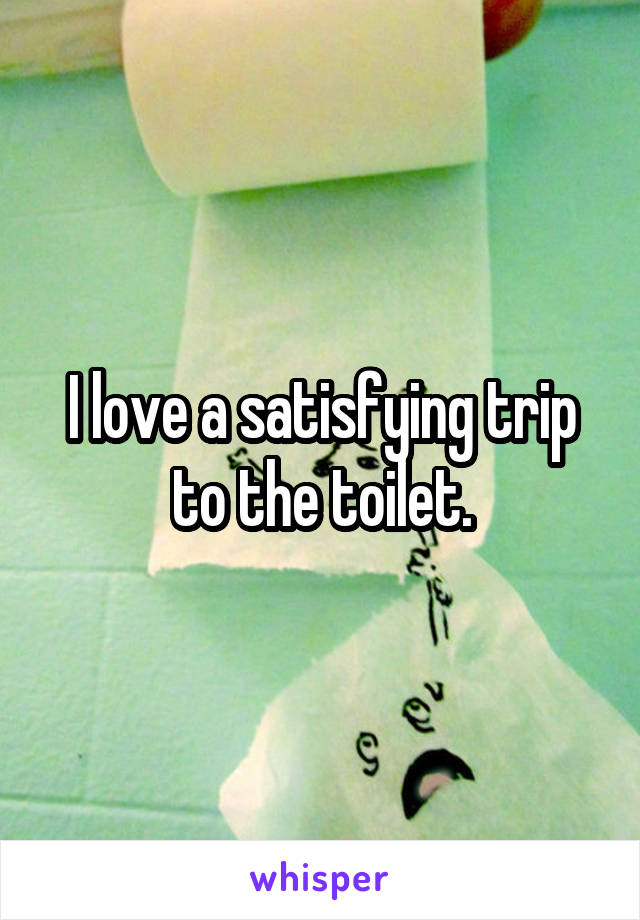 I love a satisfying trip to the toilet.