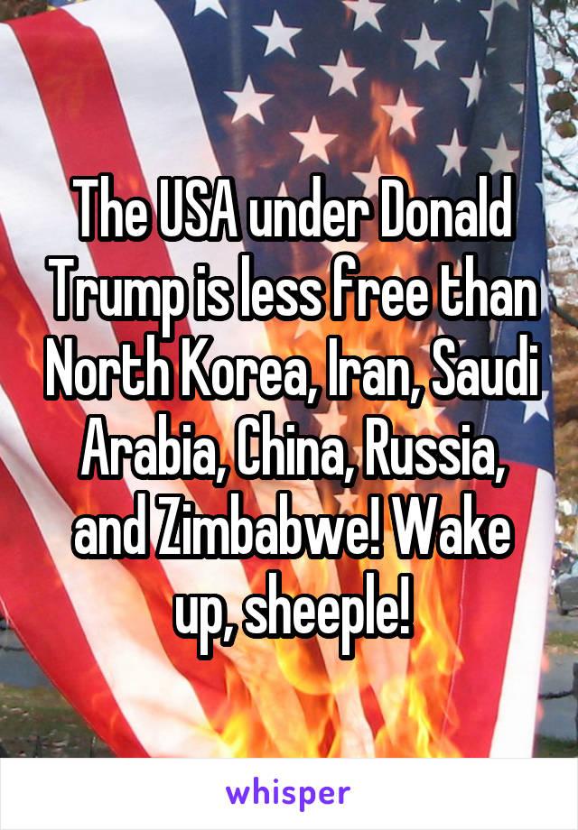 The USA under Donald Trump is less free than North Korea, Iran, Saudi Arabia, China, Russia, and Zimbabwe! Wake up, sheeple!