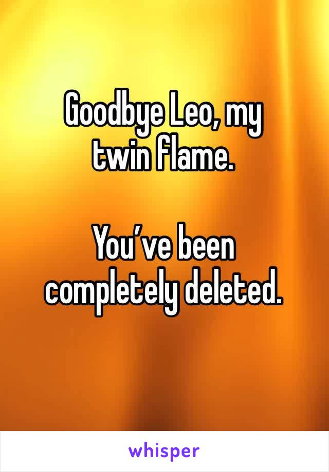 Goodbye Leo, my twin flame.   You've been completely deleted.