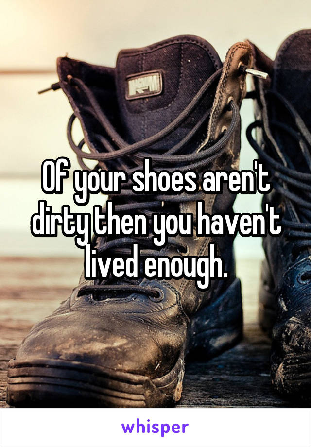 Of your shoes aren't dirty then you haven't lived enough.