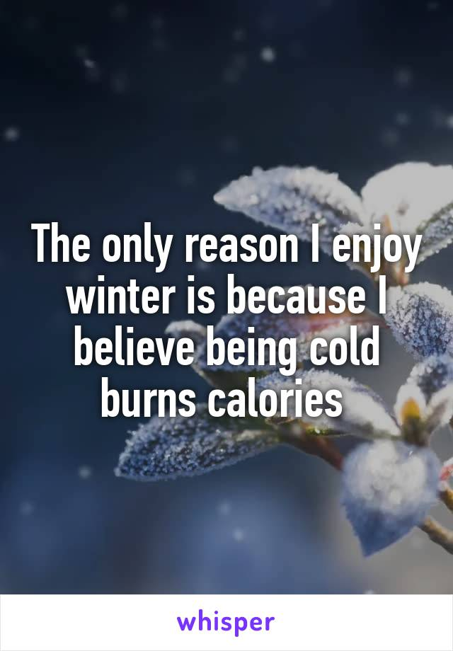 The only reason I enjoy winter is because I believe being cold burns calories